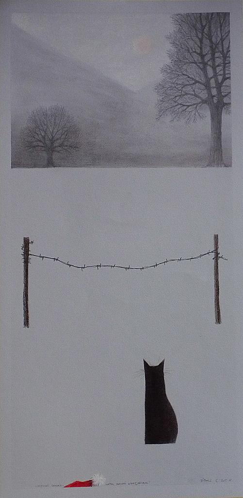 Fábián László - Mikulás napján-háttal Dankó kertjének - ceruza, pasztell