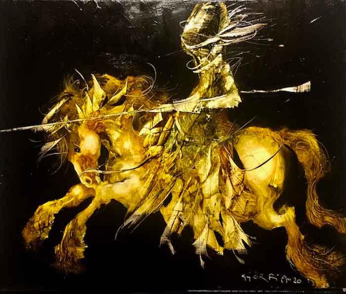 Győrfi András - Sárga lovas - festmény