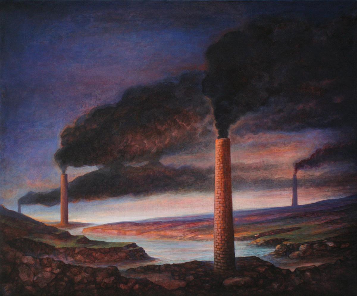 Szurcsik József - Fekete füst - festmény