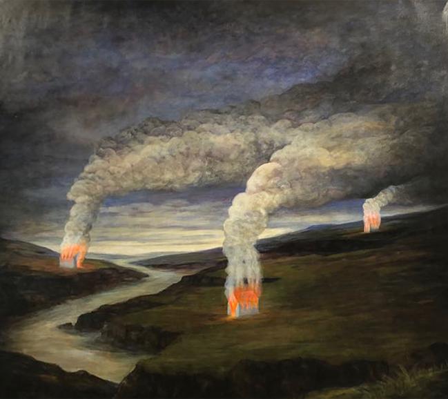 Szurcsik József - Három hajlék - festmény