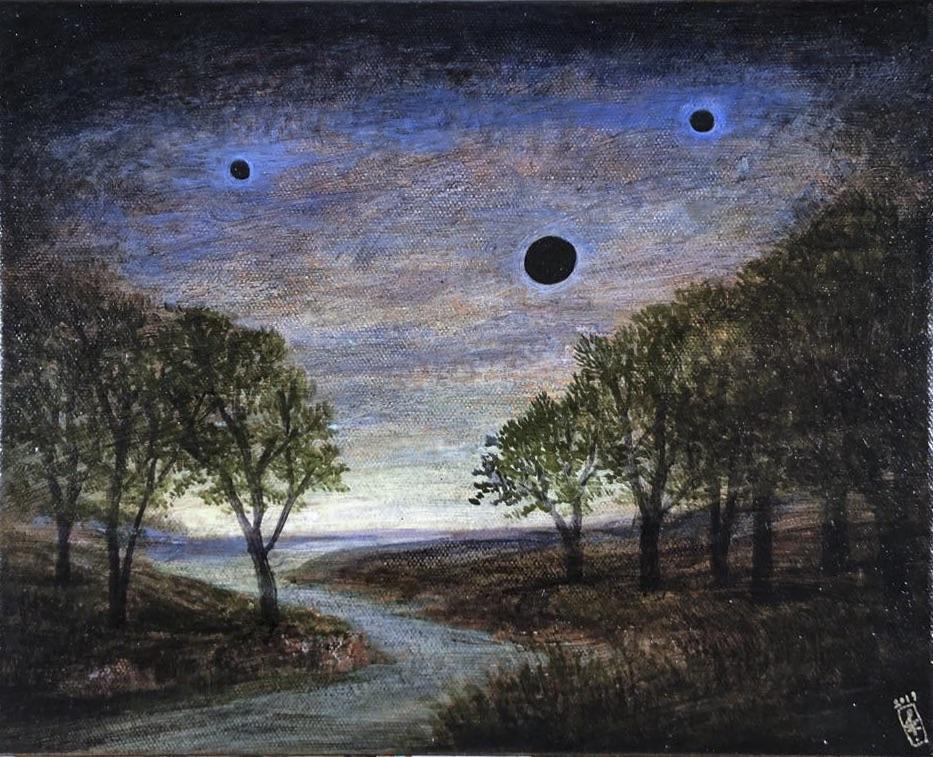 Szurcsik József - Kies táj fekete holdakkal - festmény