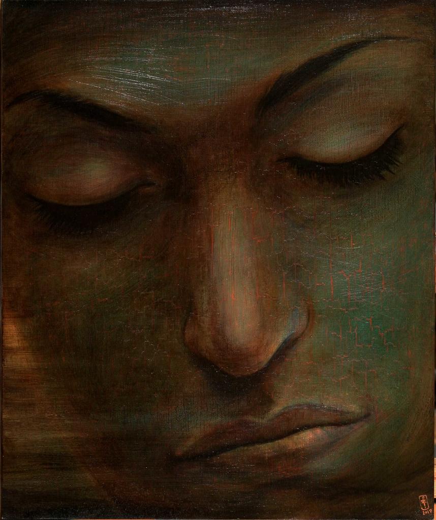 Szurcsik József - Kimerülve - festmény