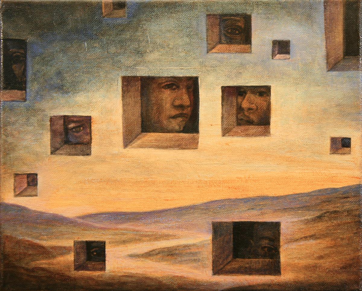 Szurcsik József - Rejtőzködők - festmény