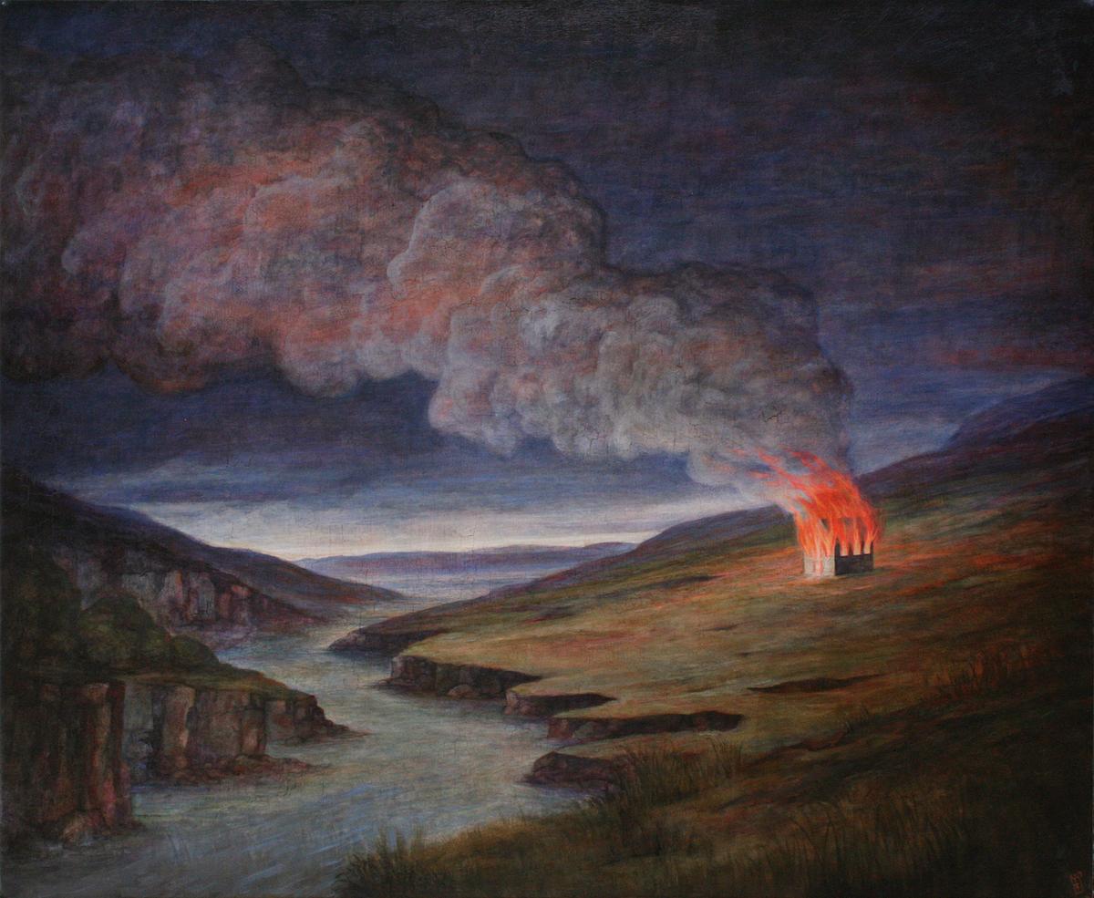 Szurcsik József - Romantikus más égő házzal - festmény