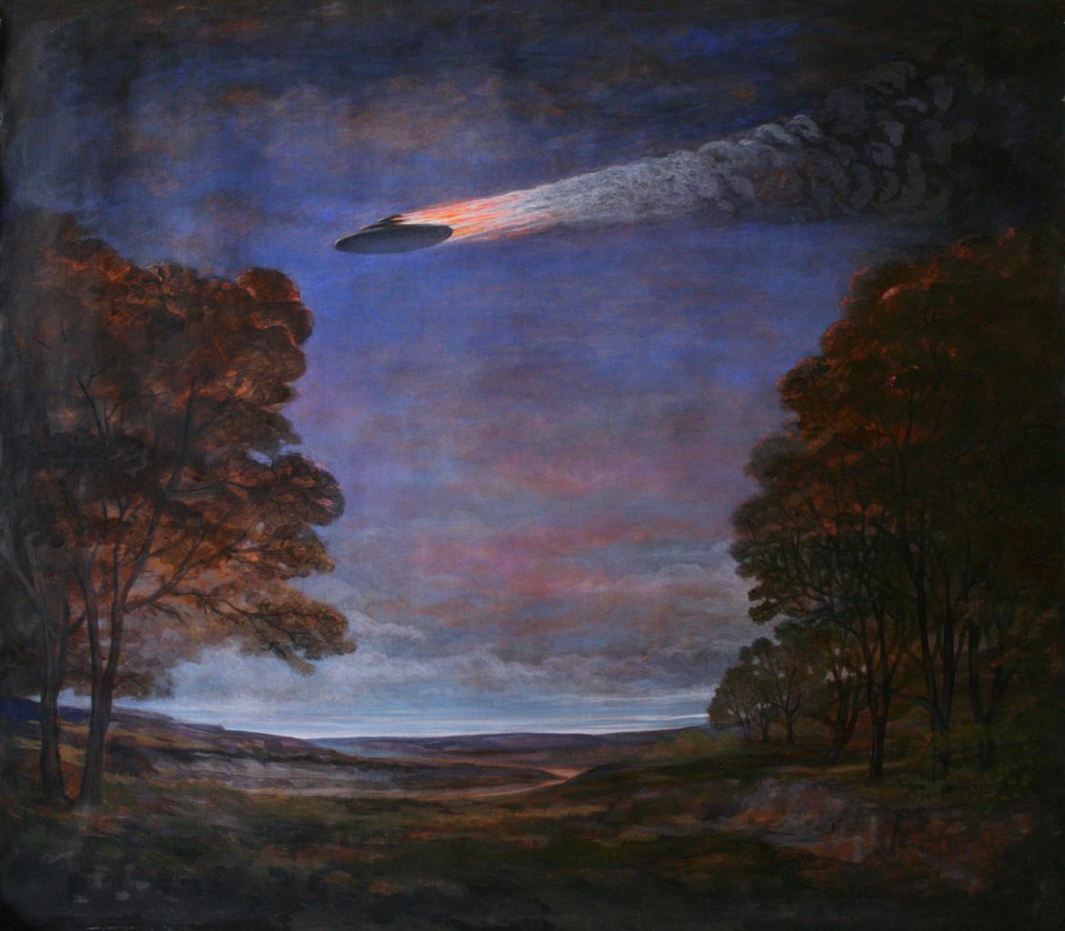 Szurcsik József - Tájkép lángoló ufóval - festmény